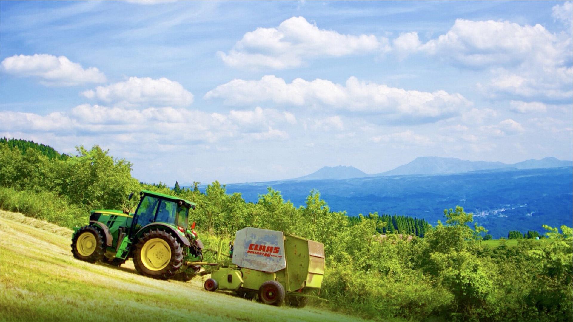 日田アグリ 阿蘇山を望む牧草畑
